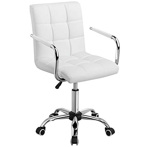 Yaheetech White Desk Chairs with Wheels/Armrests Modern PU Leather Office Chair Midback Adjustable Home Computer Executive Chair on Wheels 360° Swivel