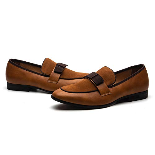JITAI Men's Lindford Moc Toe Bit Slip-on Penny Loafer Party Shoes (11 M US, BROWN-01)