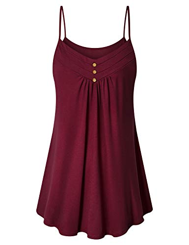 Viracy Summer Tops for Women, Ladies Spaghetti Strap Tank Top Dressy Sleeveless Casual V Neck Pleated Front Swing Tunic Classic Loose Fitted Office Elegant Camisoles Breezy Shirt with Shorts Red M