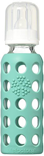 Lifefactory BPA-Free Glass Baby Bottle with Protective Silicone Sleeve and Stage 2 Nipple, Kale, 9 Ounce