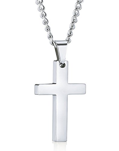 Joybeauti High Polished Stainless Steel Cross Pendant Chain Necklace for Women 22 Inches with Gift Box (Steel) (High Fashion Necklace Gift Box)