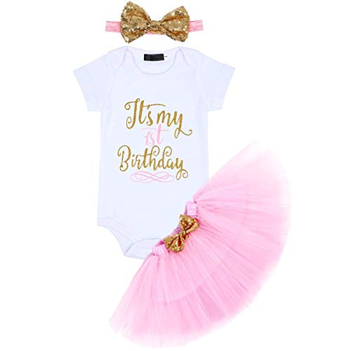 (YOUNGER TREE Newborn Baby Girls It's My 1st Birthday Dress Infant Shiny Printed Sequin Bowknot Tutu Princess Dress (Pink, 9-18 Months)