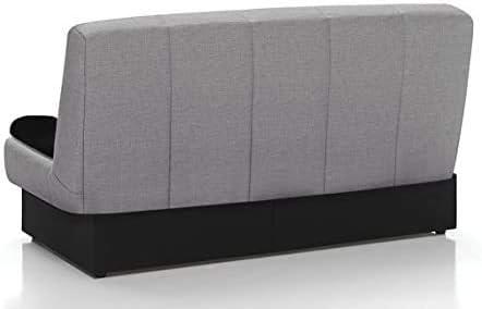 Home Heavenly - Sofa Cama London Clic clac desenfundable con arcón 2 plazas, 190 (Gris Claro)