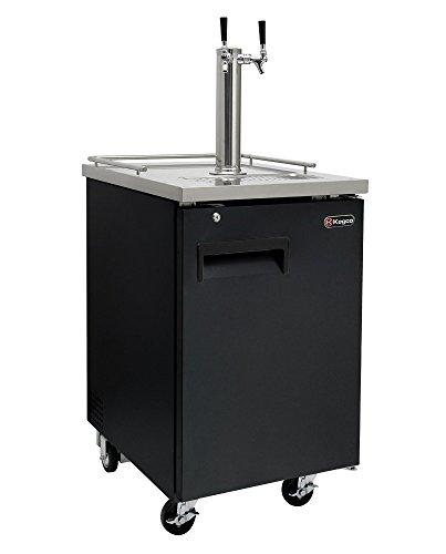 Kegco Two Faucet Commercial Direct Draw Beer Dispenser Black Kegerator Keg Cooler ()
