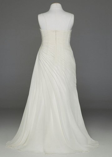 with David Gown AI13020761 Asymmetrical s Chiffon Sample Style Draping Crinkle Ivory Bridal 7qBx76Y
