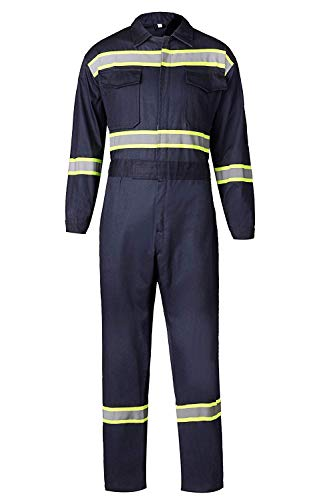 Men's High Visibility Work Coverall Reflective Safety Workwear Long Sleeve (XL, Navy) by XinAndy (Image #6)