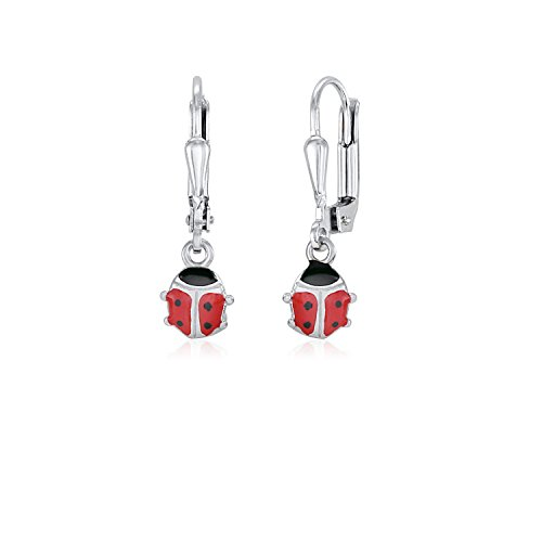 UNICORNJ Childrens Sterling Silver 925 Ladybug Earrings Leverback Dangle with Red Enamel