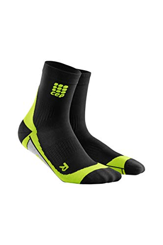 CEP Men's Dynamic+ Compression Run Socks, Black/Green, Size V (Ankle Circumference: 10.5-11.5-Inch)