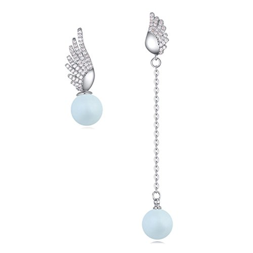 Micro-Inlaid Zircon Earrings Element Pearl Guardian Wings Asymmetric Earring,Pastel ()