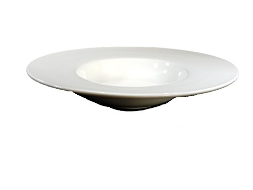 White Porcelain Wide Rim Round Soup/Pasta Bowl (Plate Wide Soup Rim)