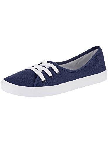 oodji Ultra Mujer Zapatillas de Tela Básicas de Algodón Azul (7900N)