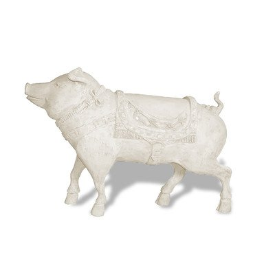 Pig Stone - Amedeo Design 1300-4L Resin Stone Carousel Pig Statue, 38 by 42 by 15-Inch, Limestone