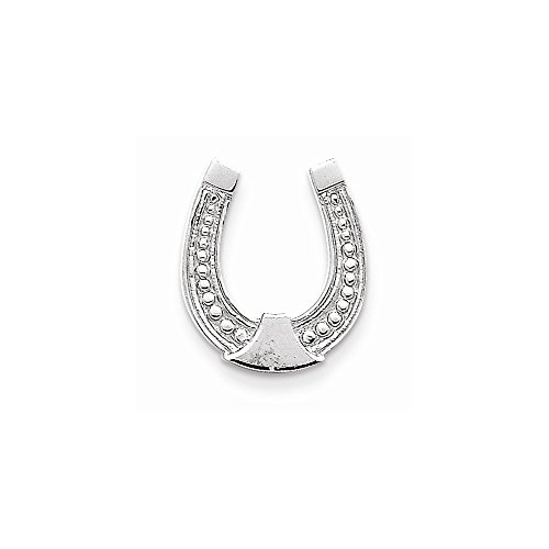 Mireval 14k White Gold Horseshoe Pendant (15 x 15 (Qg White Gold Horseshoes)