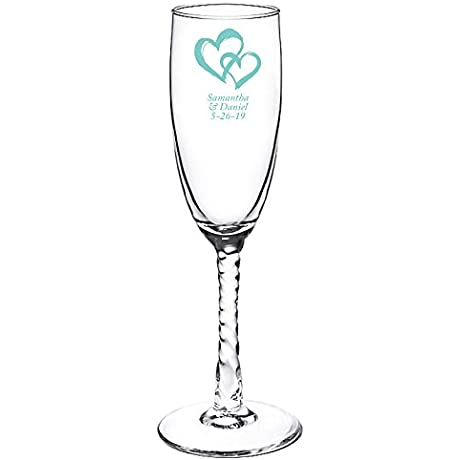 Personalized Color Printed Twisted Stem Champagne Flute Two Hearts Robins Egg Blue 72 Pack