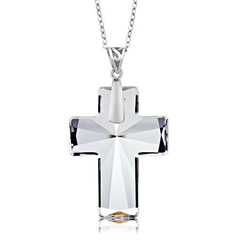 Sterling Silver Cross Pendant Necklace Made with Swarovski Crystals