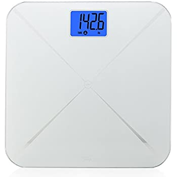 Smart Weigh Smart Tare Digital Body Weight Bathroom Scale with Baby or Pet Tare Weighing Technology, Large LCD Display and Tempered Glass Platform, 440lbs/200kg Capacity (Silver)