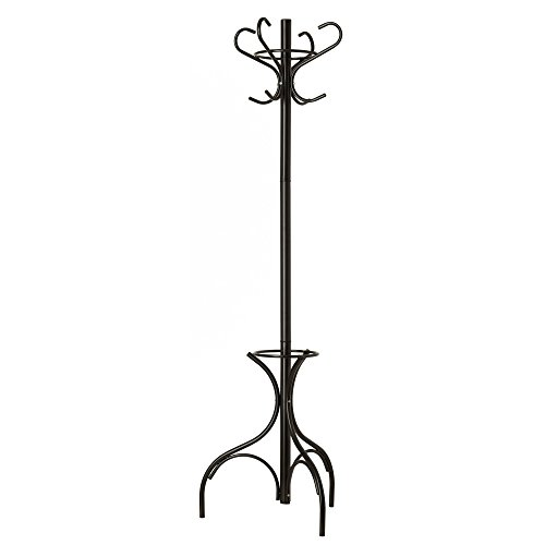 GrayBunny GB-6807 Metal Coat Rack, Hat Stand, Umbrella Holder, Hall Tree, Black, For Home or Office (Brass Hall Tree)