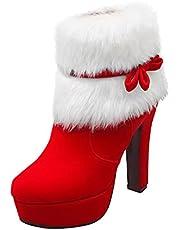Kerstlaarzen Dames Enkellaarzen Mode Korte laarzen Western cowboylaarzen Wellingtonlaarzen Ronde neus Blokhak Bootie Lage buis Halfhoge hak Outdoorlaarzen