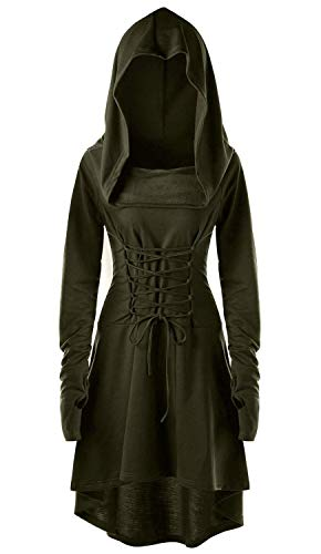 Eastlife Womens Halloween Costumes Hooded Robe Lace Up Vintage Pullover High Low Long Hoodie Dress