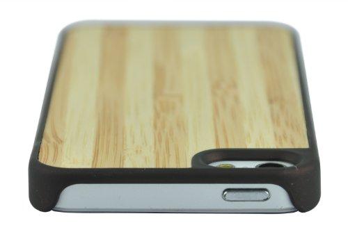 SunSmart Caso de madera natural real de madera de bambú de Apple iPhone 5 Genuine Copia de Caja Cubierta con bordes de plástico resistente (nogal negro) madera y bambú