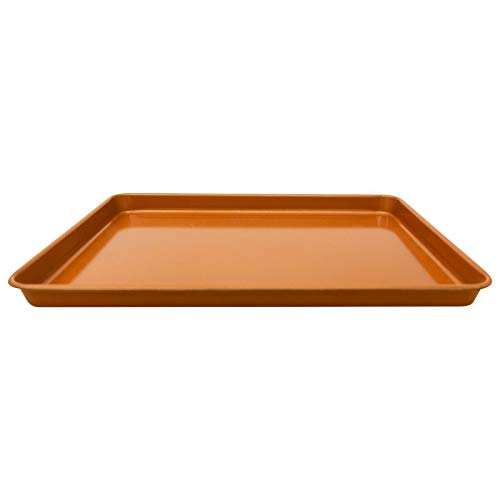 """Gotham Steel 1389  Nonstick Copper Cookie Sheet and Jelly Roll Baking Pan 12"""" x 17"""" – 1 PACK, Brown"""