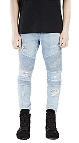 Anaisy Da Pantaloni Biker Casual Uomo Blau Jogging Jeans Strappati Trapuntati Giovane Denim xS45qxwr1Z