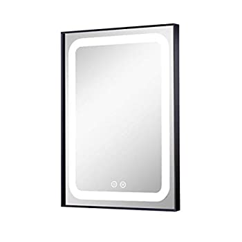 Image of Petus House 24in X 32in LED Bathroom Mirrors, Wall Mount Lighted Smart Vanity Makeup Bathroom Mirrors, Black Frame, White Light Anti-Fog Memory Touch Button Waterproof CRI>90 5MM Copper Free Mirrors Home Improvements
