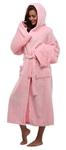 FADSHOW Fleece Robes For Women Lightweight, Pink, Small / Medium