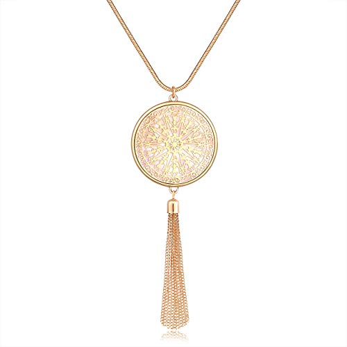 Isaloe Long Necklaces for Women Mixed Metal Seashell Medallion Chain Tassel Pendant Necklace Statement Jewelry (Gold)