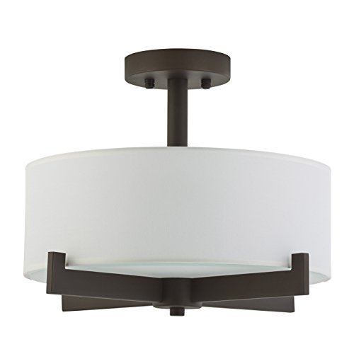 Allegro Semi Flush Mount Ceiling Light - Dark Bronze - Fabric Shade - Linea di Liara LL-C132-DB by Linea di Liara