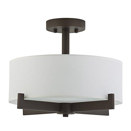 Contemporary Flush Semi - Allegro Semi Flush Mount Ceiling Light - Dark Bronze - Fabric Shade - Linea di Liara LL-C132-DB