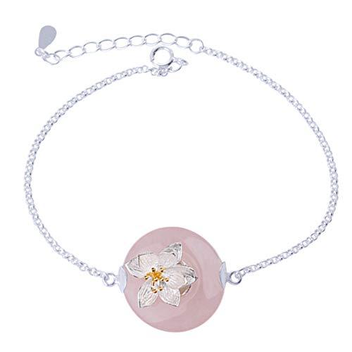 Helen de Lete Green Jade Stone With Lotus S925 Sterling Silver Bracelet (Pink Jade)