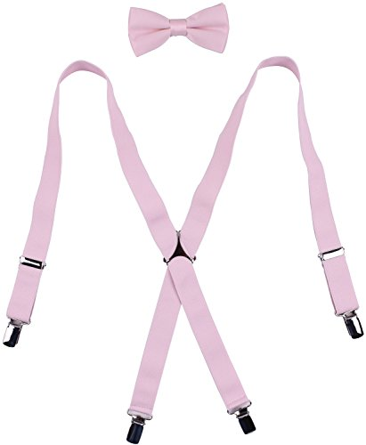 WDSKY Men's Adjustable Bow Tie and Suspenders Set