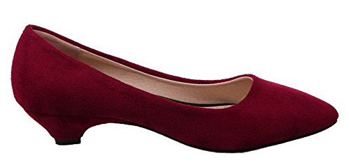 Odomolor Women's Pull-on Low-Heels Frosted Solid Pumps-Shoes Claret RFPyoI