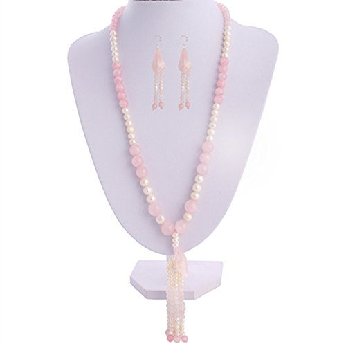 Gem Stone King 24inches Handmade Cultured Freshwater Pearls Rose Quartz Silver Necklace Earrings - Set Necklace Earring Quartz And