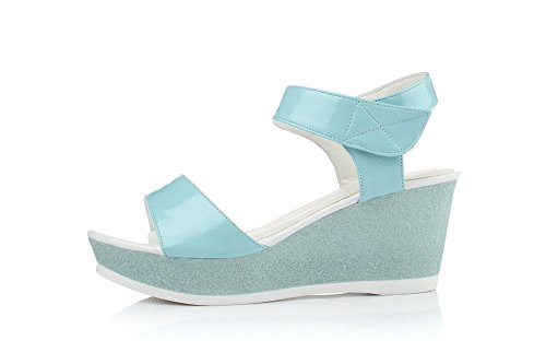 Allhqfashion Mujeres High-heels Charol Sólido Hook-and-loop Peep Toe Sandalias Azul