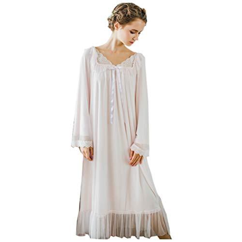 Women's Long Sheer Vintage Victorian Lace Nightgown Sleepwear Pyjamas Lounge Dress Nightwear (Light Pink, Large)
