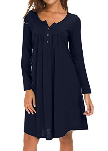 Eanklosco Long Sleeve Swing Dress Women Casual Loose Henley Shirt Dress (Navy Blue, L)