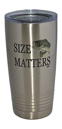 Funny Fishing 20 Oz. Travel Tumbler Mug Cup w/Lid Vacuum Insulated Hot or Cold Size Matters Fishing Gift ()