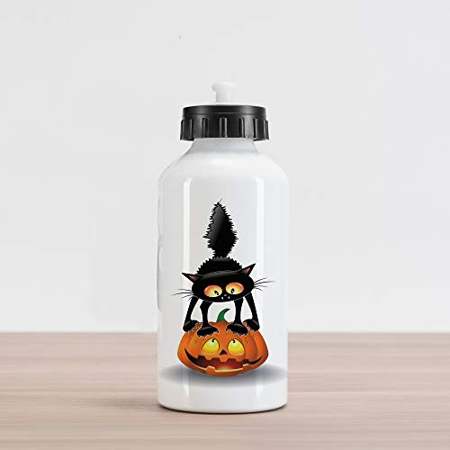Ambesonne Halloween Aluminum Water Bottle, Black Cat on Pumpkin Drawing Spooky Cartoon Characters Halloween Humor Art, Aluminum Insulated Spill-Proof Travel Sports Water Bottle, Orange Black]()