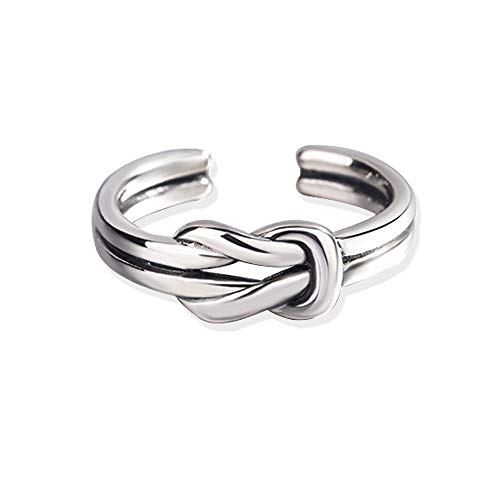 Twisted Toe Rings Sterling Silver Vintage Knot Midi Ring Retro Body Jewelry for Women Girls (Knot Ring)