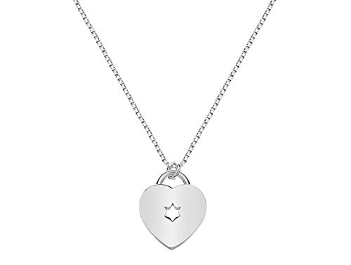 Bat Mitzvah Heart and Jewish Star Pendant on a Chain for Girls and Women | Alef Bet by Paula ()