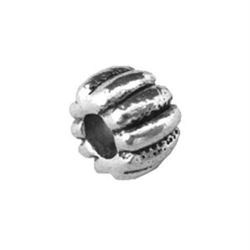 Euro Computer Bed - Gozebra(TM) 25 PCS Tibetan silver ribbed circel Euro Beads fit Charm bracelet