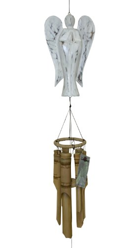 Cohasset Gifts # 630DW | Angel Bamboo Wind Chimes | Wood Outdoor Home Décor for Decks, Garden & Porch |, Distressed White Finish Review