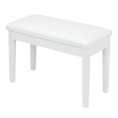 Bonnlo White Duet Piano Bench Wooden keyboard bench with Storage and Padded Cushion