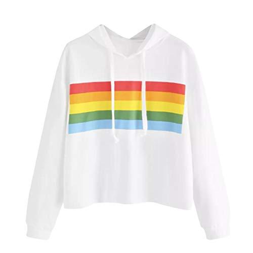 FDelinK Clearance! Women's Striped Colorblock Rainbow Raw Hem Hooded Sweatshirt Pullover Hoodie Top (White, XL) by FDelinK