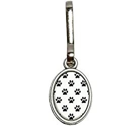 Graphics and More Paw Prints on Parade Black White Antiqued Oval Charm Clothes Purse Luggage Backpack Zipper Pull