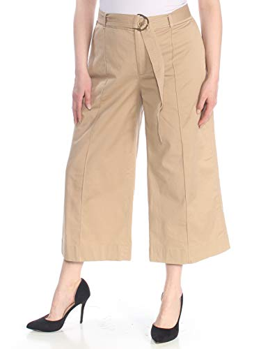 Lauren Ralph Lauren Womens Brienda Twill Cropped Wide Leg Pants Tan 16