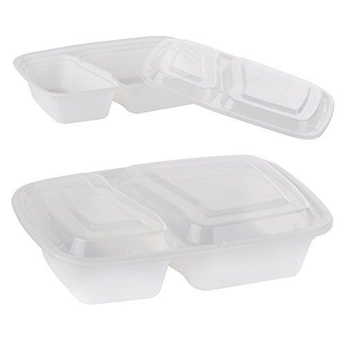 Bulk Wholesale Supplies 2 Compartment Containers Clear
