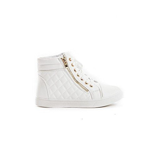 Women's Up Quilted Zipper White Sneakers Lace Leatherette Top Shoes Soho High 5nqY4Zgx